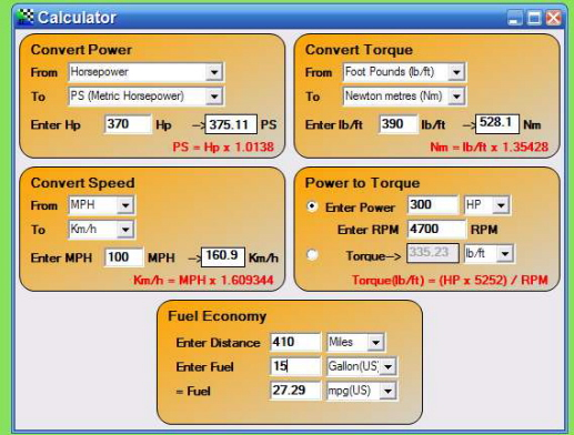 VRT8x HP/TQ Calculator